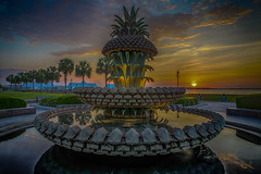 Pineapple Fountain, Charleston, SC (Bill Varney) Tags: park sky sun color reflection water clouds sunrise landscape waterfront outdoor south charleston carolina billvarney
