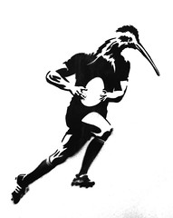 The Game Played With An Egg Shaped Ball (Steve Taylor (Photography)) Tags: newzealand blackandwhite streetart man bird art monochrome socks contrast graffiti stencil boots head rugby egg beak nelson monotone player nz southisland shorts kiwi