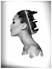 """""""Morphed Being"""" (Peter.Bu) Tags: woman white black art monochrome beauty work exposure double peter bu morphed"""