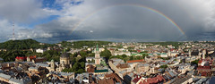 Full Rainbow on Skyline of Lviv (tarmo888) Tags: skyline rainbow lviv ukraine medieval unesco special lvov  lww lemberg  lwow leopolis ukrayina photoimage  sooc sonyalpha   ratusha sony geosetter sweeppanorama  geotaggedphoto nex7 sel18200 foto widedowndirection year2016