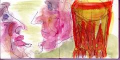 Schnapps, der wie Feuer brannte, mischte sich in ihre Gedanken (raumoberbayern) Tags: auto city pink winter bus fall smart car pencil paper munich mnchen landscape herbst tram sketchbook stadt papier landschaft bleistift robbbilder skizzenbuch strasenbahn