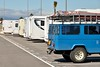 Our Toyota BJ45 1984 between the mobile homes on a parking place in La Línea de la Concepción, a stone trow away from the border with Gibraltar [Spain] (babakotoeu) Tags: car jeep offroad 4x4 toyota land series 40 landcruiser cruiser troopy bj40 40series bj45