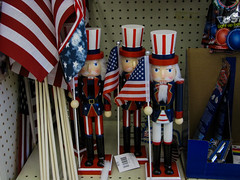 A Bunch of Angry Looking Uncle Sams (prima seadiva) Tags: blue red summer white kitsch nutcracker 4thofjuly