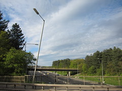 Leaning lamppost (Lady Wulfrun) Tags: road nottingham bridge ma motorway m1 accident philips lamppost roads leaning nottinghamshire trowell rta leaninglamppost m1motorway ma90