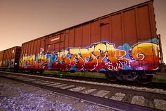 Sager (dogslobber) Tags: new metal train graffiti orleans steel trains sage burning boxcar sager railfan freight fr8 benching fr8heaven