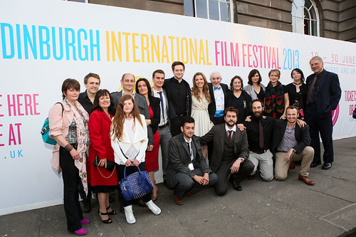 Patrick Wallace, Andrew Rothney, Norman MacLean, Scarlett Mack and Sheila Stewart and other cast at the photocall for Blackbird outside the Filmhouse