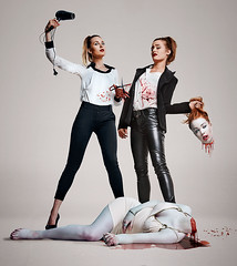 Vont TV (LalliSig) Tags: portrait people woman studio iceland tv blood women pale advertisement portraiture splatter hairdryer decapitation vont