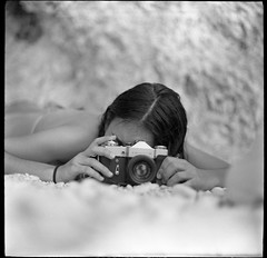 Finger on the triger (Salt.as) Tags: summer bw white black 120 6x6 girl monochrome mediumformat photo bokeh greece porto talking kiev 6c ilford fp4 125 lefkada katsiki