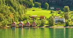 Lake Houses (Charn High ISO Low IQ) Tags: travel cruise trees summer house mountain lake norway forest relax landscape hotel cabin cottage resort fjord scandinavia lightandshadow flam waterreflection summerbreak dxoopticspro flaam nikefexpro canon6d