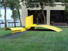 Modern Art (knightbefore_99) Tags: street city summer canada hot green art yellow metal winnipeg main lawn manitoba portage mb