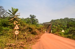 Lope National Park, Gabon (jbdodane) Tags: africa road bridge elephant bicycle sign river cycling velo vlo gabon cyclotourisme cycletouring day414 ogoou lopenationalpark freewheelycom routeconomique