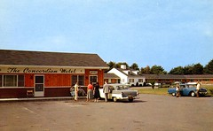 Concordian Motel Acton MA (Edge and corner wear) Tags: new family england pine vintage ma restaurant hotel pc inn quality massachusetts postcard families colonial motel lodge chrome cupola motor pontiac courts roadside aaa oldsmobile paneling knotty