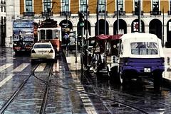 Lisboa(1) (TRUDI.) Tags: lighting city winter light urban portugal colors rain contrast nikon cityscape colours emotion lisboa magic hiver dream dramatic highcontrast tram slice foreshortening cinematic drama inverno colori emptiness piaggio lisbona portogallo contrasto urbanpoetry urbanarte nikond3000 blinkagain