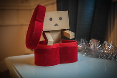 Peek-a-boo (siljevdm) Tags: christmas light red cute love heart surprise danbo danboard flickrandroidapp:filter=none danbo´sadventure