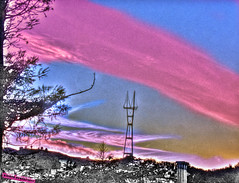 Psychic Chemtrails over Sutro Tower, HDR (Walker Dukes) Tags: sanfrancisco california pink blue red sky urban orange white black tree green art colors yellow clouds photoshop manipulated canon landscape gold cityscape purple hill magenta violet belltower photograph ugly highdefinition sfbayarea universe impressionistic photomatix abigfave altereduniverse highdefinitionresolution canons95