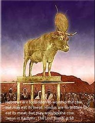 Moses said 'Do not worship the Golden calf.'  Beef is on the menu for dinner. www.rozabal.com (Author-The DNA of God Project) Tags: afghanistan worship cross god muslim islam religion buddhism graves creation mohammed bible astronomy safiya christianity generations hindu prophet himalayas fatima crucifixion excalibur muhammad jesuschrist kingarthur resurrection emc2 mothermary magdalene emptytomb ahmadiyya haplo tombofjesus swordinstone shias kashmirindia losttomb kinanah rozabal suzanneolsson dnaofgod yuzasaph