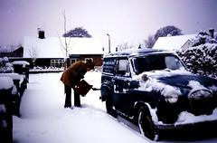 APRIL 1969 AUSTIN A35 VAN AND SNOW (Midlands Vehicle Photographer.) Tags: snow 1969 austin april and van a35