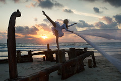Isis ( Rebecca Bathory ) Tags: sunset sea ballet beauty dance sand pretty ship rebecca decay dancer shipwreck urbex bathory wwwrebeccabathorycom