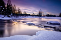 Silky water (welho-) Tags: winter snow ice nature water sunrise canon suomi finland river landscape long exposure smooth sigma nd icy chute 1000 silky 1835 nd1000 eos70d