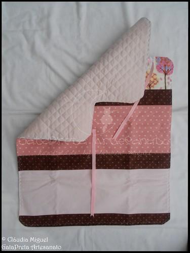 """Bolsa para fraldas, muda-fraldas e bolsa para roupa e nécessaire """"Pink Cotton Trees"""""""