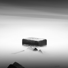 ... (alexey sorochan) Tags: longexposure sea blackandwhite bw seascape storm black beach nature water monochrome rock fog clouds port photography coast harbor photo waves waterfront stones sid