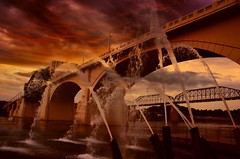 Fire in the Sky (Roland 22) Tags: red orange reflection water yellow clouds flickr tennessee horizon gray northshore fountains walnutstreetbridge thick fireinthesky tennesseeriver chattanoogatn marketstreetbridge