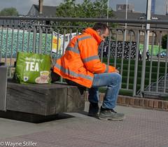 wheres my tea (Wayne Stiller) Tags: street people orange man london work shopping bag day break tea rest hi vis interest