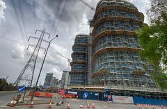 Docklands Walk May 2016 (7 of 78) (johnlinford) Tags: building london landscape construction scaffolding pylon scaffold docklands hdr