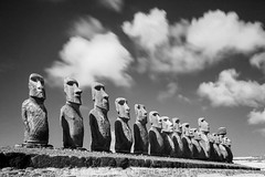 Easter Island Set - 3 (burntpixel.ca) Tags: ocean chile old trip travel sky sculpture white black art monochrome strange beautiful face rock horizontal stone mystery clouds rural america canon easter spectacular island photo ancient pattern many south fine patrick carving unesco adventure photograph journey repetition heads infrared historical remote monolith figures moai wander overseas distant mcneill nui rapa burntpixel 50d canon50d wrench777