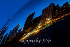 Chicago-2081.jpg (CitizenOfSeoul) Tags: city blue usa chicago night downtown indiana northamerica cloudgate mirroring