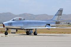 F-86 Sabre at Chino (Ian E. Abbott) Tags: northamericanf86sabre northamericanf86 f86sabre northamericanaircraft northamerican naa f86 sabre koreanwaraircraft coldwaraircraft jetwarbird baremetalaircraft polishedaircraft