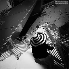 The hat (Passie13(Ines van Megen-Thijssen)) Tags: rotterdam trap treppe scaffolding stairway geruest stijgers stellage netherlands people mensen menschen street straat strasse rotterdamcentraal centraalstation blackandwhite bw streetphotography fineart sw zw zwartwit canon inesvanmegen inesvanmegenthijssen passionphotography handelsgebouw