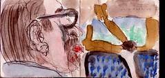 das Grn vor dem Fenster erinnerte ihn an Italien. Er konnte es frmlich riechen: Lavendel, Rosmarin und Oregano, Pizza Calzone (raumoberbayern) Tags: city winter bus fall pencil paper munich mnchen landscape herbst tram sketchbook stadt papier landschaft bleistift robbbilder skizzenbuch strasenbahn
