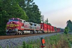 Warbonnets on NS 223 in Waring, GA (James Patrick Kolwyck) Tags: santa railroad atlanta train sunrise ga georgia photography 1 ns main norfolk railway southern fe ge railfan bnsf intermediate waring intermodal atsf railfanning warbonnet c449w