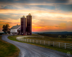 End of the day at Bellvale Farms (brianloganphoto) Tags: road trees sunset sky house ny newyork field grass clouds barn rural fence landscape us unitedstates farm silo historical dairy warwick gravel mountianside