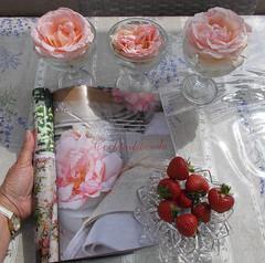 Photo:...still life... (Nadia Minic) Tags: roses stilllife composition magazine garden photo strawberries pastelcolours nadiaminic
