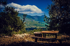 A place to think (Melissa Maples) Tags: wood mountain clouds turkey table wooden nikon asia trkiye nikkor vr afs picnictable  18200mm  f3556g  18200mmf3556g iral yazr d5100 yazrky