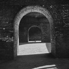 Arches under arches (Hey hey JBA) Tags: uk bridge blackandwhite bw monochrome architecture 35mm manchester blackwhite arch arches viaduct d750 archway ai castlefield captureone