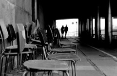 chairs (Yaman Konuralp) Tags: street stretphotography noir artistic abstract nikon nikonf ais 50mm agfa diy rodinal r09 hc110 copenhagen denmark chairs nipponkogaku nippon grain arebureoke blur travel people urban city bridge photomic