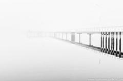 The Lone Fisherman (Keystone Photography) Tags: blackandwhite bw bird water fog reflections landscape person pier fishing australia monotone victoria lone highkey keystone solitary gippsland pentaxk5 repacholi