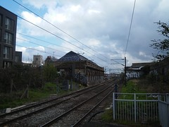 railway looking east from hackney central station e8,  2016-04-15, 11-41-40 (tributory) Tags: travel blue sky urban london station architecture train landscape grey transport perspective tracks railway rails passenger innercity postindustrial e8 overheadwire sleepers cantilever innerlondon hackneycentral overheadline londonoverground strategicroute