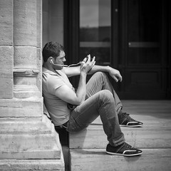 Over the phone (Christophe Delas) Tags: street leica monochrome streetphotography luxembourg summilux leicat wearethstreet