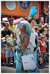 'Masquarade' (Alexxir) Tags: new york blue gay red white black hat sunglasses june butterfly hair island photography fan swatch big women long day hand dress purple mask dancing lace turquoise jewelry sneakers parade transgender lgbt wig topless huge devil bead shorts homosexual manual mermaid coney lesbians oriental cleavage 18 raven pasties transsexual gayparade 2016 whitebag