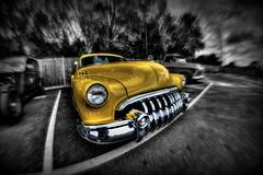 Big Yellow Buick (Steve.T.) Tags: yellow buick nikon classiccar automobile fifties wideangle chrome hotrod essex selectivecolour empirediner americancar colourpop bigyank fiftiescar samyang8mmfisheyelens d7200