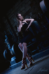 Rosa (painterphotography99) Tags: blue portrait black key dress little flash low machinery heels ironworks