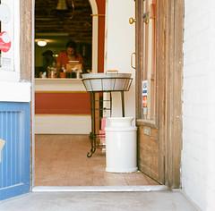 Open (marysmyth(NOLA13) ) Tags: door urban food woman toronto 6x6 film mediumformat square store open hasselblad bakery 501cm queenstreeteast kodakportra400