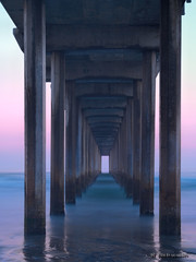 Dawn Under Scripps Pier (jamesclinich) Tags: ocean california ca detail beach water dawn pier sandiego availablelight tripod clarity olympus pacificocean slowshutter paintshoppro omd topaz corel scrippspier adjust ndfilter em10 neutraldensity denoise jamesclinich