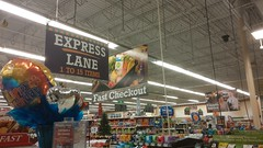 Old Millennium-Style Express Lane Sign (Retail Retell) Tags: oxford ms kroger millennium dcor grocery store university mississippi ole miss lafayette county retail