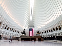 Inside the Oculus. New York (ravalli1) Tags: oculus manhattan iphone5 newyork architecture worldtradecenter station train flag american photography street calatrava