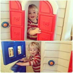 Dude LOVES this play house at the doctor (Adam Walker Cleaveland) Tags: square squareformat iphoneography instagramapp uploaded:by=instagram foursquare:venue=4f0606e90aafa1fe51ba4313